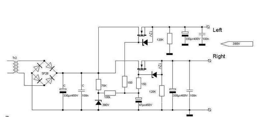 схема анодных стабилизаторов усилителя на лампах 6с19п.